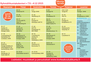 Syksyn 2015 ryhmäliikuntakalenteri
